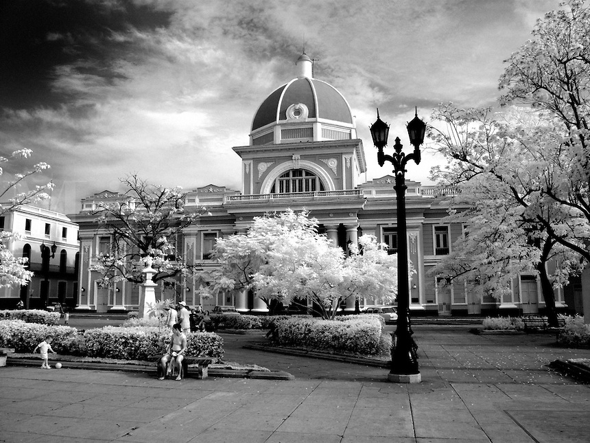 Infra Red ofParliament in Cienfuegos Cuba called the Provincial Assembly of the Popular Power in center square of village