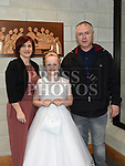 Leah Cashman from Donacarney school who recieved first holy communion in the Star of the Sea church Mornington with her parents Derek and Deirdre. Photo:Colin Bell/pressphotos.ie