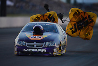 May 18, 2012; Topeka, KS, USA: NHRA pro stock driver Vincent Nobile during qualifying for the Summer Nationals at Heartland Park Topeka. Mandatory Credit: Mark J. Rebilas-