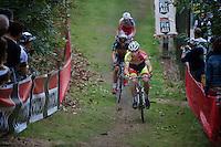 Laurens Sweeck (BEL/Corendon-Kwadro) leads over Sven Nys (BEL/Crelan-AAdrinks) &amp; Klaas Vantornout (BEL/Sunweb-Napoleon Games)<br /> <br /> GP Neerpelt 2014