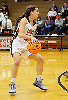 Westside Eagle Observer/RANDY MOLL<br /> Shylee Morrison, Gravette junior guard, dribbles the ball down the the court during play against Ozark on Tuesday, Jan. 28, 2020, at Gravette.