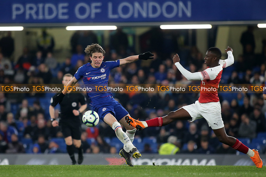 Eddie Nketiah of Arsenal tackles Chelsea's Conor Gallagher during Chelsea Under-23 vs Arsenal Under-23, Premier League 2 Football at Stamford Bridge on 15th April 2019
