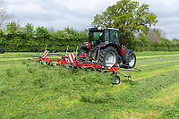 Turning grass silage <br /> ©Tim Scrivener Photographer 07850 303986<br />      ....Covering Agriculture In The UK....