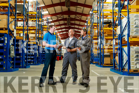 John Casey (Supervisor), Barry Godley and Mark Griffin, pictured at the Stores Department in Dairymaster, Causeway.