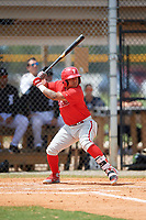 Philadelphia Phillies Grenny Cumana (12) at bat during an Instructional League game against the Detroit Tigers on September 19, 2019 at Tigertown in Lakeland, Florida.  (Mike Janes/Four Seam Images)