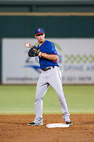 AZL Rangers shortstop Chris Seise (8) on defense against the AZL Indians on August 26, 2017 at Goodyear Ball Park in Goodyear, Arizona. AZL Indians defeated the AZL Rangers 5-3. (Zachary Lucy/Four Seam Images)