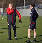 Mark Warburton checking on Andy Halliday's injured shoulder