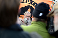 December 17, 2011  (Fort Meade, MD)  Ray McGovern (center), a retired CIA analyst now a political activist, addresses Bradley Manning supporters outside the Fort Meade military installation in Maryland.  Manning was at Ft. Meade for his Army Article 32 hearing for allegedly leaking classified intelligence information to the website WikiLeaks. (Photo by Don Baxter/Media Images International)