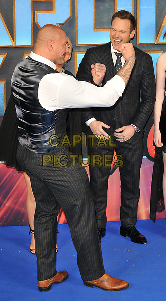Dave Bautista and Chris Pratt at the &quot;Guardians of The Galaxy Vol. 2&quot; European gala film premiere, Hammersmith Apollo (Eventim Apollo), Queen Caroline Street, London, England, UK, on Monday 24 April 2017.<br /> CAP/CAN<br /> &copy;CAN/Capital Pictures