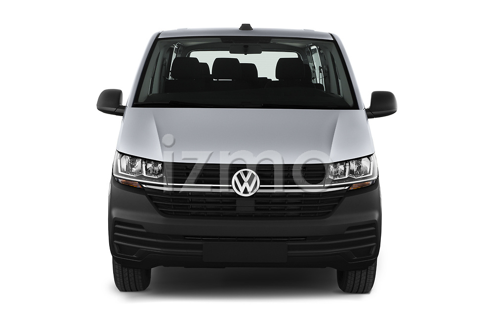 Car photography straight front view of a 2020 Volkswagen Transporter - 4 Door Passenger Van Front View