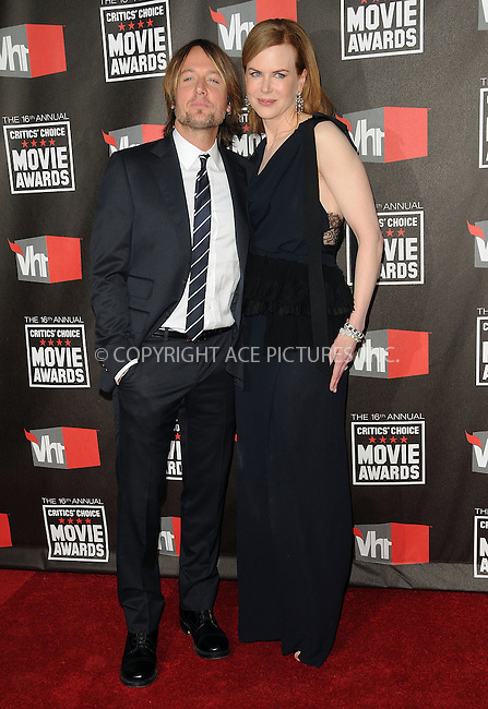 WWW.ACEPIXS.COM . . . . . ....January 14 2011, Los Angeles....Singer Keith Urban and actress Nicole Kidman arriving at the 16th annual Critics' Choice Movie Awards at the Hollywood Palladium on January 14, 2011 in Los Angeles, California.....Please byline: PETER WEST - ACEPIXS.COM....Ace Pictures, Inc:  ..(212) 243-8787 or (646) 679 0430..e-mail: picturedesk@acepixs.com..web: http://www.acepixs.com