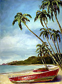 Malenda, LANDSCAPES, paintings, island boat 1(USMT68,#L#) Landschaften, Schiffe, paisajes, barcos, llustrations, pinturas