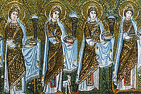 Ravenna: Mosaic--The Virgins, 6th century. Basilica of Nuovo Sant'Apollinare.