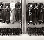 1978. Firemen's Jackets and Boots lined up. Bellows Falls, NH.