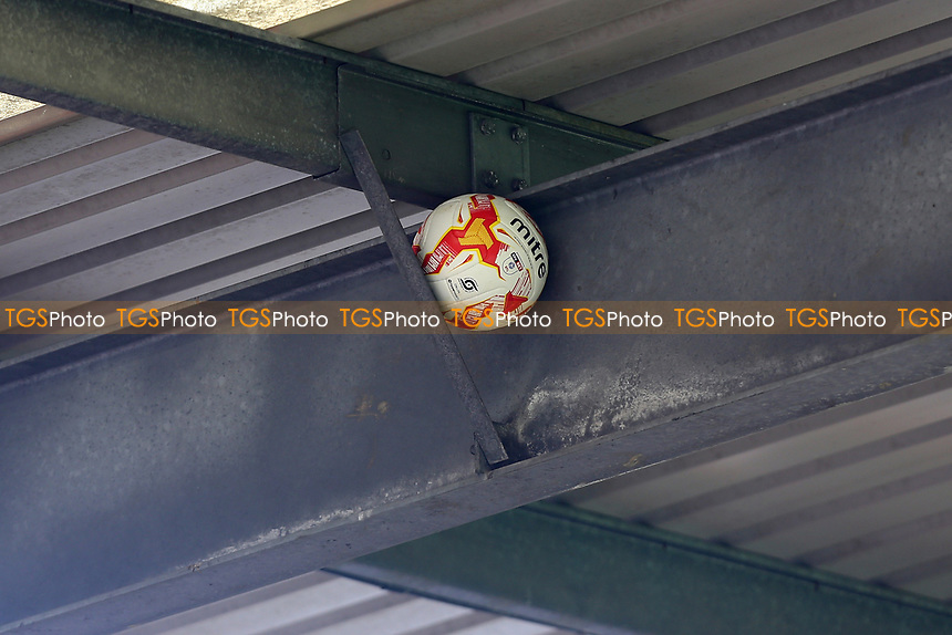 The match ball lodges in the roof of the main stand during Stevenage vs Mansfield Town, Sky Bet EFL League 2 Football at the Lamex Stadium on 22nd April 2017