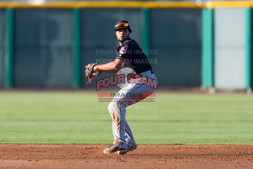 AZL Indians 1 shortstop Marcos Gonzalez (1) prepares to make a throw during an Arizona League game against the AZL Cubs 1 at Sloan Park on August 27, 2018 in Mesa, Arizona. The AZL Cubs 1 defeated the AZL Indians 1 by a score of 3-2. (Zachary Lucy/Four Seam Images)