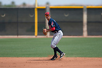 Cleveland Indians shortstop Tyler Freeman (7) prepares to make a throw to first base during an Extended Spring Training game against the Arizona Diamondbacks at the Cleveland Indians Training Complex on May 27, 2018 in Goodyear, Arizona. (Zachary Lucy/Four Seam Images)