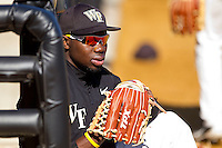Kevin Jordan #21 of the Wake Forest Demon Deacons during an intrasquad game at Wake Forest Baseball Park on January 29, 2012 in Winston-Salem, North Carolina.  (Brian Westerholt / Four Seam Images)