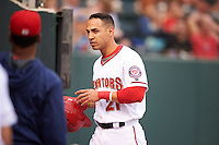 Harrisburg Senators designated hitter Neftali Soto (21) after scoring a run during a game against the New Hampshire Fisher Cats on June 2, 2016 at FNB Field in Harrisburg, Pennsylvania.  New Hampshire defeated Harrisburg 2-1.  (Mike Janes/Four Seam Images)