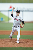 Birmingham Barons relief pitcher Codi Heuer (12) in action against the Pensacola Blue Wahoos at Regions Field on July 7, 2019 in Birmingham, Alabama. The Barons defeated the Blue Wahoos 6-5 in 10 innings. (Brian Westerholt/Four Seam Images)