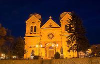 Santa Fe New Mexico St Francis Cathedral famous church at night color