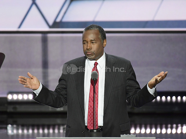 Dr. Ben Carson makes remarks at the 2016 Republican National Convention held at the Quicken Loans Arena in Cleveland, Ohio on Tuesday, July 19, 2016.<br /> Credit: Ron Sachs / CNP/MediaPunch<br /> (RESTRICTION: NO New York or New Jersey Newspapers or newspapers within a 75 mile radius of New York City)