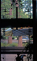F.L. Wright: Harley Bradley House, Kankakee, Ill. Interior Window.  Photo '77.