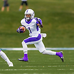 8 October 2016: Amherst College Purple & White Running Back Myles Gaines, a Senior from Bridgeport, CT, returns a kickoff during a game against the Middlebury College Panthers at Alumni Stadium in Middlebury, Vermont. The Panthers edged out the Purple & While 27-26. Mandatory Credit: Ed Wolfstein Photo *** RAW (NEF) Image File Available ***