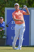 Emiliano Grillo (ARG) reacts to his tee shot on 18 during Round 2 of the Zurich Classic of New Orl, TPC Louisiana, Avondale, Louisiana, USA. 4/27/2018.<br /> Picture: Golffile | Ken Murray<br /> <br /> <br /> All photo usage must carry mandatory copyright credit (&copy; Golffile | Ken Murray)