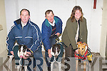 Owners with their dogs who qualified for the Finals this week at Kingdom Greyhound Stadium, Tralee, l-r: Jim Morrissey (Graigues Toss ), Liam Kelly (Anycrackjack) and Nicola Downes with her dog Droopys Deco..