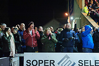 Lincoln City fans celebrate their teams goal, scored by John Akinde<br /> <br /> Photographer Chris Vaughan/CameraSport<br /> <br /> The EFL Sky Bet League Two - Lincoln City v Exeter City - Tuesday 26th February 2019 - Sincil Bank - Lincoln<br /> <br /> World Copyright © 2019 CameraSport. All rights reserved. 43 Linden Ave. Countesthorpe. Leicester. England. LE8 5PG - Tel: +44 (0) 116 277 4147 - admin@camerasport.com - www.camerasport.com