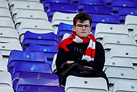 1st February 2020; St Andrews, Birmingham, Midlands, England; English Championship Football, Birmingham City versus Nottingham Forest; Nottingham Forest fan who arrived early waiting for the game to start