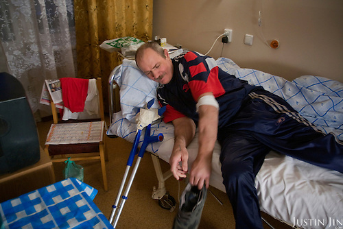 Portrait at a hospital of an injured Chechnya war veteran mentioned in the book by writer Arkady Babchenko in Moscow, Russia.