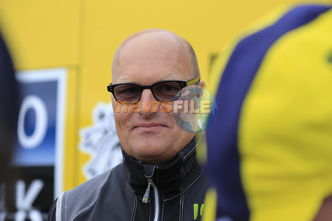 Tinkoff Saxo team manager Bjarne Riis in Compiegne before the start of the 112th edition of the 257 km Paris-Roubaix cycle race held over the cobbled roads of Northern France. 13th April 2014.<br /> Picture: Eoin Clarke www.newsfile.ie