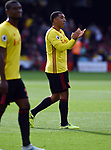 Troy Deeney of Watford thanks the fans at the end of the premier league match at the Vicarage Road Stadium, Watford. Picture date 26th August 2017. Picture credit should read: Robin Parker/Sportimage