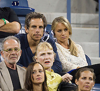 BEN STILLER  watching NOVAK DJOKOVIC (SRB) (1) against ROGER FEDERER (SUI) (1) in the Semi-Finals of the Men's SIngles. Novak Djokovic beat Roger Federer 6-7 4-6 6-3 6-2 7-5..Tennis - Grand Slam - US Open - Flushing Meadows - New York - Day 13 - September 10th  2011..© AMN Images, Barry House, 20-22 Worple Road, London, SW19 4DH, UK..+44 208 947 0100.www.amnimages.photoshelter.com.www.advantagemedianetwork.com.