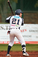 16 October 2010: Yann Dal Zotto of Savigny is seen at bat during Rouen 16-4 win over Savigny, during game 1 of the French championship finals, in Savigny sur Orge, France.