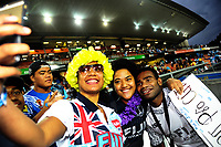 Fiji captain Jerry Tuwai with fans after the cup final on day two of the 2018 HSBC World Sevens Series Hamilton at FMG Stadium in Hamilton, New Zealand on Saturday, 3 February 2018. Photo: Dave Lintott / lintottphoto.co.nz
