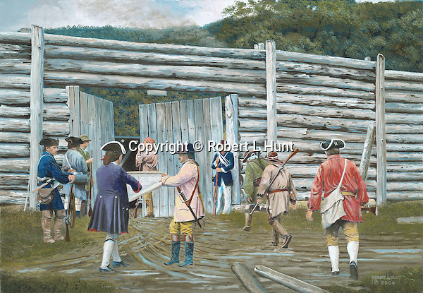 "Fort Roberdeau was a Revolutionary War fortification built to defend lead deposits on the Pennsylvania frontier, a restoration on the site sits near present day Altoona, PA. Oil on canvas, 18"" x 26""."