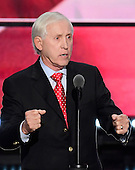 Fran Tarkenton, former NFL Quarterback, Media Personality, and Businessman makes remarks at the 2016 Republican National Convention held at the Quicken Loans Arena in Cleveland, Ohio on Thursday, July 21, 2016.<br /> Credit: Ron Sachs / CNP<br /> (RESTRICTION: NO New York or New Jersey Newspapers or newspapers within a 75 mile radius of New York City)