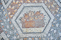 3rd century AD Roman mosaic panel of pomegranates in a basket from Thugga, Tunisia.  The Bardo Museum, Tunis, Tunisia.