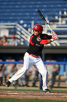 Batavia Muckdogs first baseman Eric Fisher (33) at bat during a game against the Connecticut Tigers on July 21, 2014 at Dwyer Stadium in Batavia, New York.  Connecticut defeated Batavia 12-3.  (Mike Janes/Four Seam Images)