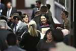 Nevada Assemblywomen Amber Joiner, R-Reno, center left, and Olivia Diaz, D-North Las Vegas, enter the Assembly chambers at the Legislative Building in Carson City, Nev., on Thursday, May 21, 2015. <br /> Photo by Cathleen Allison
