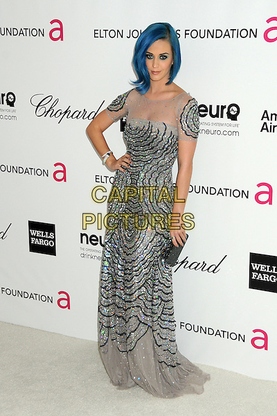 Katy Perry.20th Annual Elton John Academy Awards Viewing Party held at West Hollywood Park, West Hollywood, California, USA..February 26th, 2012.full length dyed blue hair white sheer sequins sequined dress grey gray black clutch bag hand on hip.CAP/ADM/BP.©Byron Purvis/AdMedia/Capital Pictures.