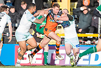 Picture by Allan McKenzie/SWpix.com - 11/02/2018 - Rugby League - Betfred Super League - Castleford Tigers v Widnes Vikings - the Mend A Hose Jungle, Castleford, England - Castleford's Michael Shenton is tackled by Widnes's Krisnan Inu &  Charly Runciman.