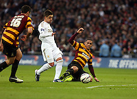 Pictured: Carl McHugh (L), Pablo Hernandez (C). Sunday 24 February 2013<br /> Re: Capital One Cup football final, Swansea v Bradford at the Wembley Stadium in London.
