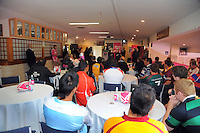 Sir Brian Lochore addresses the Pink Batts Heartland Championship 2013 season launch at Waikanae RFC, Waikanae, New Zealand on Tuesday, 13 August 2013. Photo: Dave Lintott / lintottphoto.co.nz