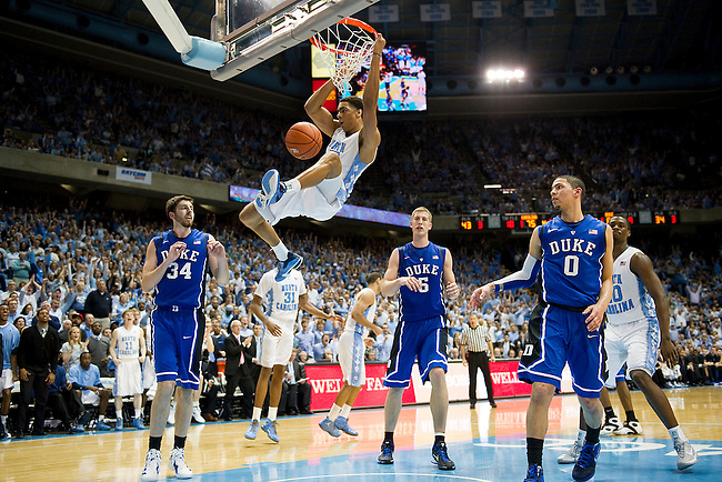 Chapel Hill, NC - February 8, 2012 - Dean E. Smith Center: James Michael McAdoo (43) of the North Carolina Tar Heels dunks during a regular season game against the Duke Blue Devils. Blue Devils defeat the Tar Heels 85-84..(Photo by Phil Ellsworth / ESPN)..- RAW FILE AVAILABLE -