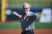 "Roland Hemond, the ""Architect of the Arizona Fall League"", reacts after throwing out the first pitch before the Arizona Fall League Championship Game between the Salt River Rafters and Surprise Saguaros on October 26, 2019 at Salt River Fields at Talking Stick in Scottsdale, Arizona. The Rafters defeated the Saguaros 5-1. (Zachary Lucy/Four Seam Images)"