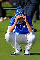 Carlota Ciganda (EUR) on the 18th green during Day 3 Singles at the Solheim Cup 2019, Gleneagles Golf CLub, Auchterarder, Perthshire, Scotland. 15/09/2019.<br /> Picture Thos Caffrey / Golffile.ie<br /> <br /> All photo usage must carry mandatory copyright credit (© Golffile | Thos Caffrey)